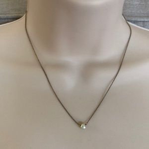 Anthropologie Pearl on Gold Chain Necklace